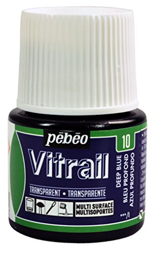 Pebeo Vitrail, Stained Glass Effect Paint, 45 ml Bottle - Deep Blue ()