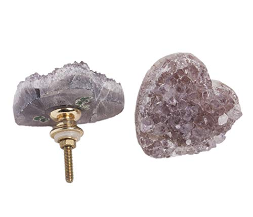 2pcs Amethyst Door Drawer Knobs Pulls Cabinet Dresser Handle Thread Brass for Decorative Dressers Drawer, Kitchen Cabinet