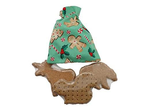 Stocking Gingerbread Man (Dog Gift Treat Bag - Made in USA - Fleece Holiday Christmas Gift Pouch - Gingerbread Man)
