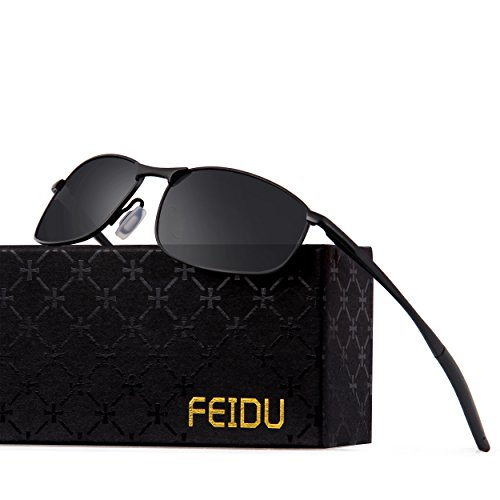 FEIDU Polarized Sport Mens Sunglasses HD Lens Metal Frame Driving Shades FD 9005 (Black/Black, - Polarized Sale Sunglasses
