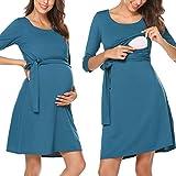 Women's Solid 3/4 Sleeve Summer Maternity Nursing Breastfeeding Dress Dark Green L