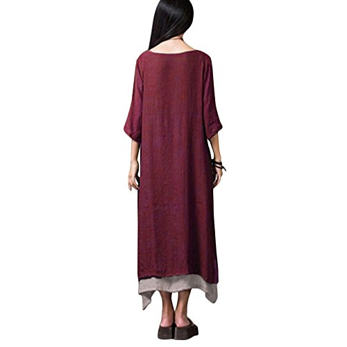 Robes Caf Vert Femmes Arme Boho Lache Coton Irrgulire Romacci Orange Longues Bordeaux Robe Lin Casual Vintage 7Tzx6wq