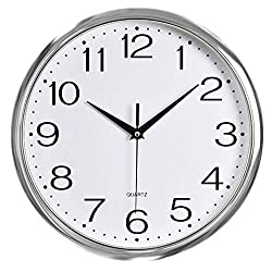 Foxtop Silver Wall Clock, 12 Inch Non Ticking Modern Decorative Battery Operated Clock for Living Room Bathroom Bedroom Office School Classroom