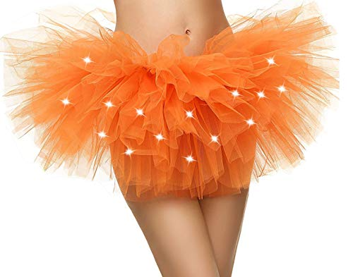 Short Tutu - Simplicity Womens Tutu Skirt with Led Light up Layered Tulle Costume Party Dance