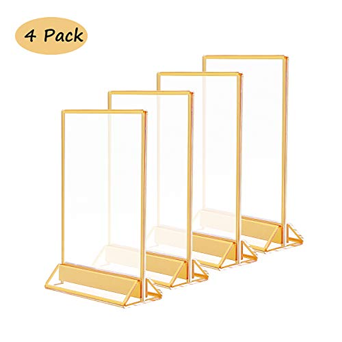 8.5x11 Acrylic Commercial Menu Holders with Gold Borders and Vertical Stand,Clear Double Sided Frames Display Sign Holder for Signs,Pictures,Wedding Table,Restaurant Signs,Photos,Art Display,Pack of 4 (Border Frame)