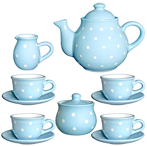 City to Cottage Handmade Baby Blue and White Polka Dot Ceramic Teapot Set, Large 1,7l/60oz/4-6 Cup Teapot, Milk Jug, Sugar Bowl, Four Cups & Saucers Tea Set Pottery Housewarming Gift for Tea Lovers