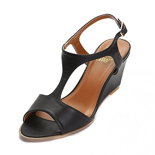 Alexis Leroy Cute Leather-Look Peep Toe Wedge Heeled Sandals Black