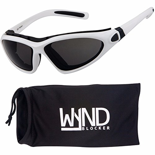 WYND Blocker Vert Motorcycle & Outdoor Sports Wrap Around Sunglasses (White / Smoke - White Around Sunglasses Wrap