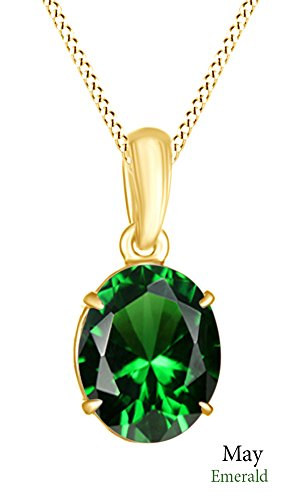 Jewel Zone US AFFY Women's Classic Simulated Emerald Oval Shape Pendant Necklace in 10k Solid Yellow Gold (1 (10k Yg Emerald)