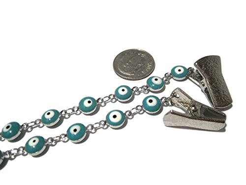 ATLanyards Light Blue Evil Eye Clip Eyeglass Holder, Chain Eyeglass Holder, Evil Eye