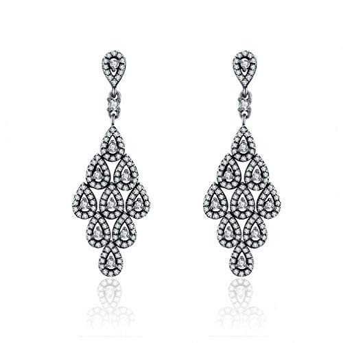 - Womens Drop Dangle Earrings New 925 Sterling Silver Cascading Glamour Drop Earrings for Women Wedding Party S925 Silver Jewelry Xchs516