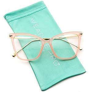WearMe Pro - New Elegant Oversized Clear Cat Eye Non-Prescription Glasses (Pink Frame, 52)