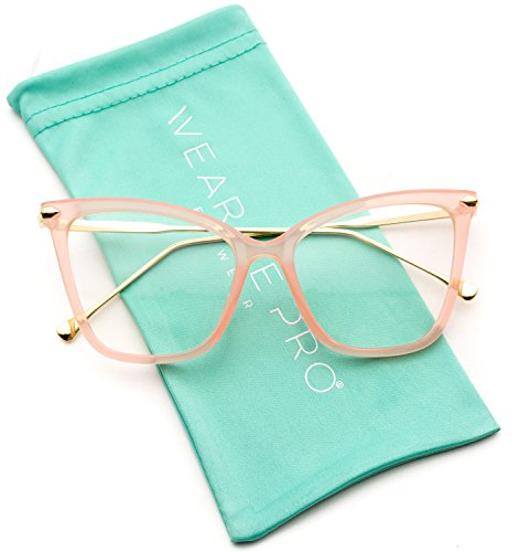 WearMe Pro - New Elegant Oversized Clear Cat Eye Non-Prescription Glasses (Pink Frame, 52)