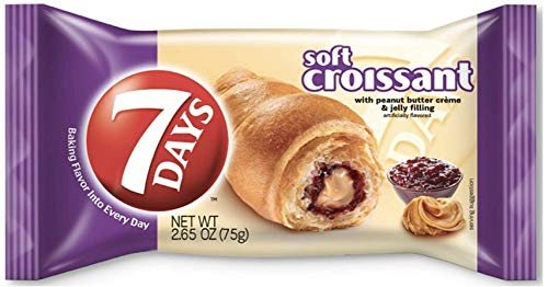 7Days Soft Croissant, PB&J (Pack of 12) | GMO-Free Peanut Butter & Jelly Snack