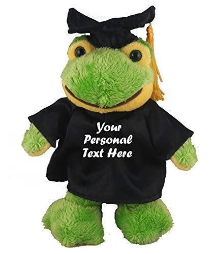Plushland Plush Stuffed Animal Toys 8 Inches Present Gifts for Graduation Day, Personalized Text, Name or Your School Logo on Gown, Best for Any Grad School Kids (Graduation Frog Black Gown)