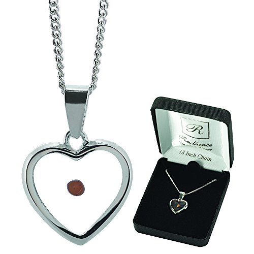 Heart With Mustard Seed Center Sterling Silver 18-Inch Pendant Necklace