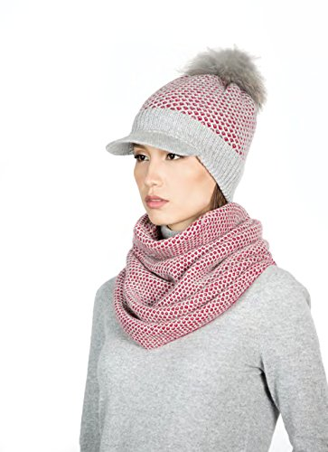Gobi Authentic 100% Mongolian Cashmere Women Knitted SCARF, SNOOD (Pink) 50x43 cm/20x17 in