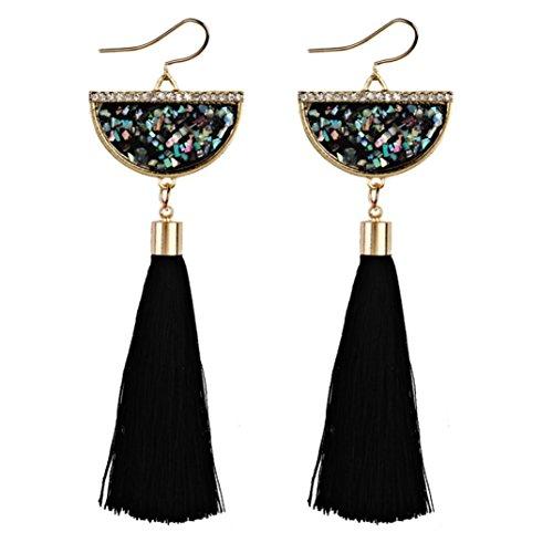 Teardrop Fringe Earrings (Lavany Vintage Bohemian Earrings Long Tassel Fringe Dangle Earrings Jewelry For Women (Black))