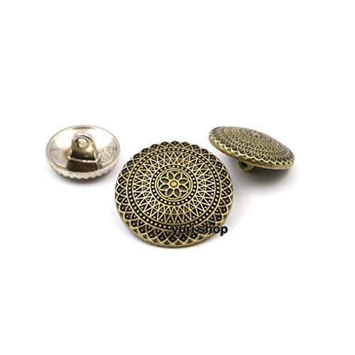 - FidgetGear 10pcs Silver Bronze Flower Carved Metal Shank Buttons Coat Sewing Embellishment Bronze 18mm