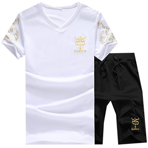 Abetteric Men's Sweatsuit Pullover Fashion Tracksuit Jog Set White M