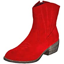 Bonnibel Women's Calico-2 Cowboy Ankle Boots, Red