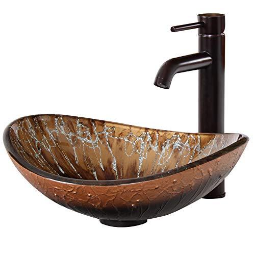 ELITE Unique Oval Artistic Bronze Tempered Bathroom Glass Vessel Sink & Oil Rubbed Bronze Single Lever Faucet