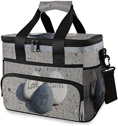 LINPM Kühltasche, Worte auf Kieselsteinen Motivationskonzept 15l große isolierte Lunch-Tasche Picknickkühler, Kühlerrucksack