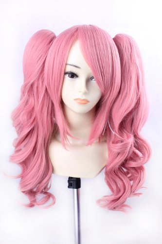 Ezcosplay® Curly Ponytail Wig Pink Wigs Cosplay Anime One Piece Perona long Synthetic Hair and a Wig (Adult Short Pink Wig)