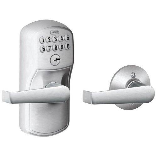 Schlage FE575 Plymouth By Elan Keyed Entry Auto-Lock Electronic Keypad with 16211 Latch 10063 Strike Satin Chrome Finish - Classroom Lock Plymouth