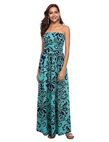 Liebeye Women Baroque Print Off Shoulder Strapless Maxi Dress Green L