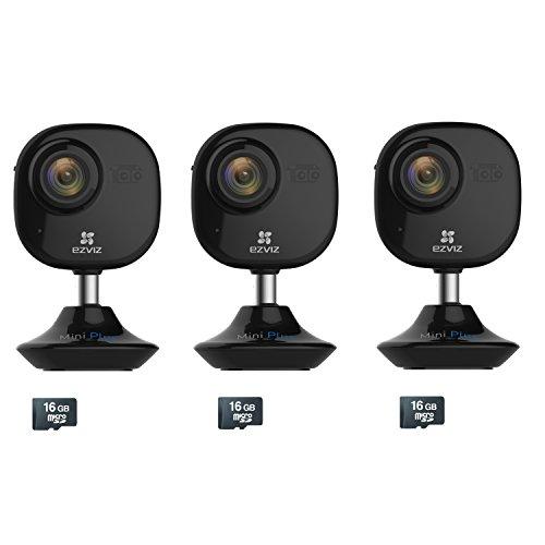 Price comparison product image EZVIZ Mini Plus HD 1080p Wi-Fi Video Security Cameras,  16GB MicroSD,  Works with Alexa – 3 Camera Kit