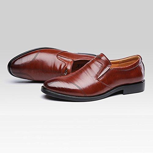 formale pelle Oxfords Dimensione Color EU da Nero Soft Marrone vera traspirante BMD Shoes in pelle 42 Scarpe Sole di Flats Slip on uomo Business n8IPq