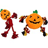 PUPTECK 2 PCS Halloween Squeaky Dog Chew Toy - Funny Pumpkin Plush Stuffed Toys for Puppy Pet Tugging Playing