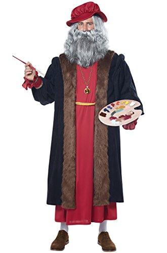 Da Vinci Et Costumes (California Costumes Men's Leonardo Da Vinci Renaissance Man Costume, Red/Black, Large/X-Large)