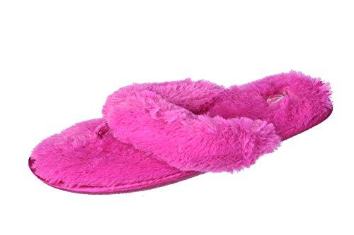 Joan Vass Womans Plysch Fuskpäls Flip Flop Satin Band Spa Toffel Rosa