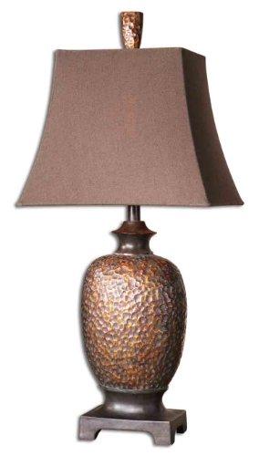 - Distressed Bronze Leaf Dark Chestnut Bronze Details Gray Verdigris Glaze Amarion Table Lamp