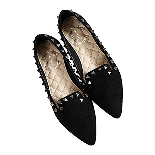 Pointed Low Thin Plus Shoes Fluff cut black Flat Rivet Size wqRf4BY1