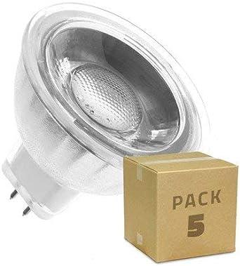 LEDKIA LIGHTING Pack Bombillas LED GU5.3 MR16 COB Cristal 220V 45º 5W (5 un) Blanco Cálido 3000K: Amazon.es: Hogar
