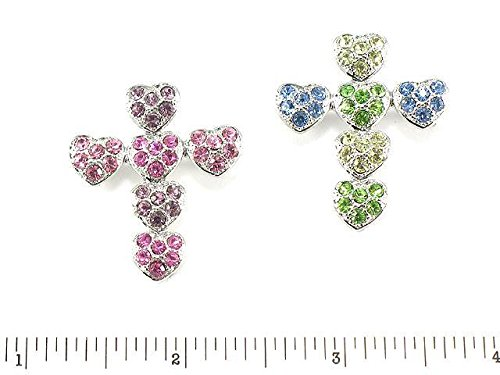 Two Piece Set of Multicolored Austrian Crystal Cross Hearts Brooches