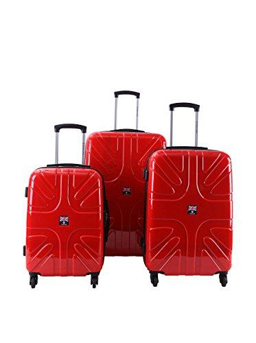 WORLD TRAVEL Set de 3 trolleys Rigides ABK Rouge