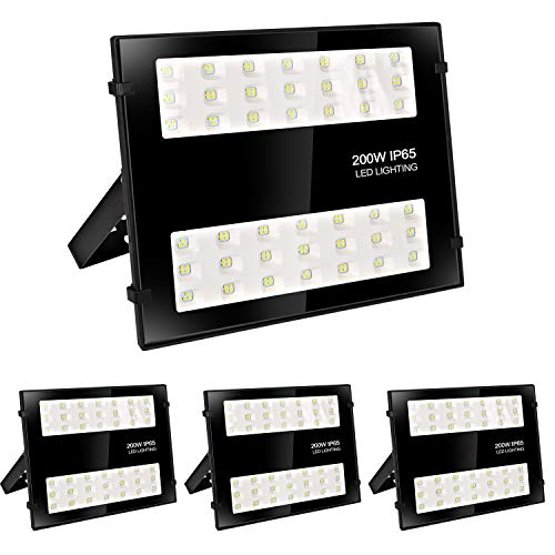 Hykolity 200W LED Security Flood Light,20000lm Outdoor Commercial LED Area Light, Weatherproof Parking Lot Lighting Fixture,5000K Daylight [400W MH Equivalent] - 4 Pack
