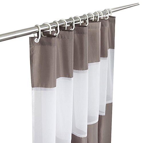"""72"""" x 72"""" Shower Curtain Brown Color, Fabric and White Gauze Modern Design Shower Curtains for Bathroom"""