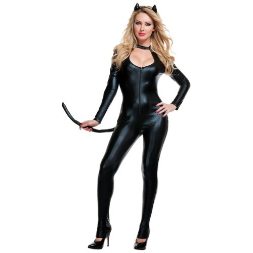 Starline Women's Sexy Klepto Kat Costume Set with Cat Ears Headband, Black, Large -