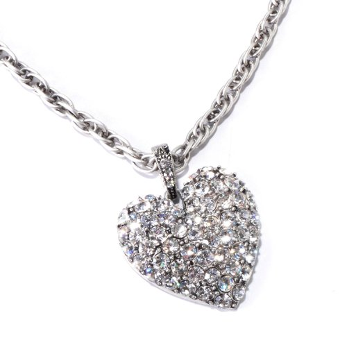 Sweet Romance Pave Crystal Heart Necklace (Silver) ()