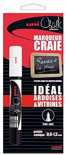 Marqueur craie - UNI CHALK - Pointe fine - Blanc Uniball