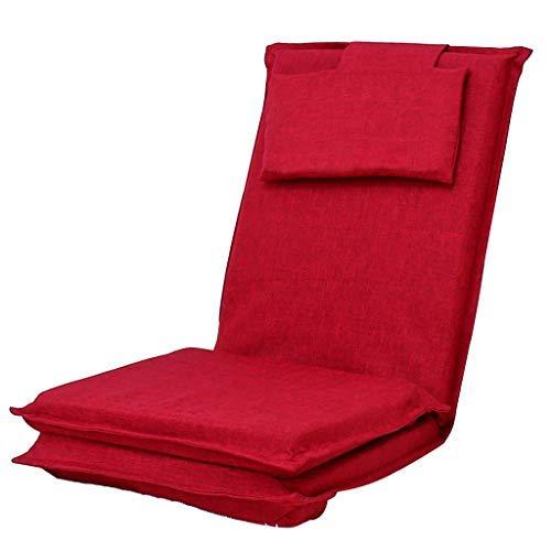 Lazy Couch折りたたみ式シングルソファベッド出窓ロングベンチ5速調節可能なソファリクライニングチェア折りたたみ式トラベルチェア耐荷重120KG(カラー:レッド、サイズ:52 * 52 * 75cm) B07SW2363S