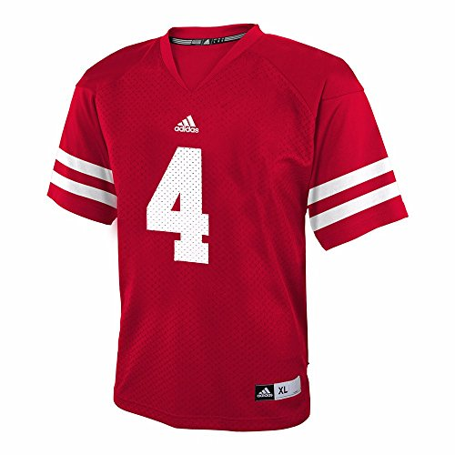 adidas Wisconsin Badgers NCAA Red Official Home #4 Replica Football Jersey For Youth (L)