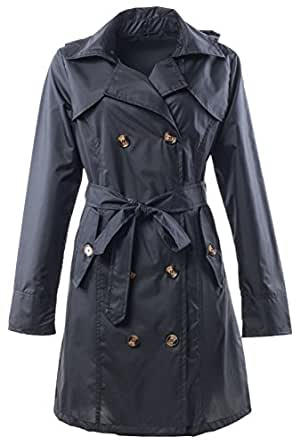QZUnique Women's Waterproof Packable Rain Jacket Double Breasted Poncho Raincoat Black,One size
