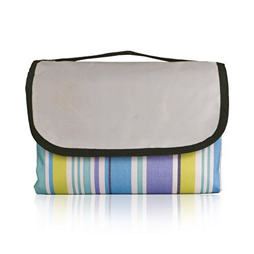 Large Foldable Waterproof Picnic Blanket Tote 80'x60': Perfect for Picnics, Camping, Concerts, Beach (Green, Blue, Purple, White)