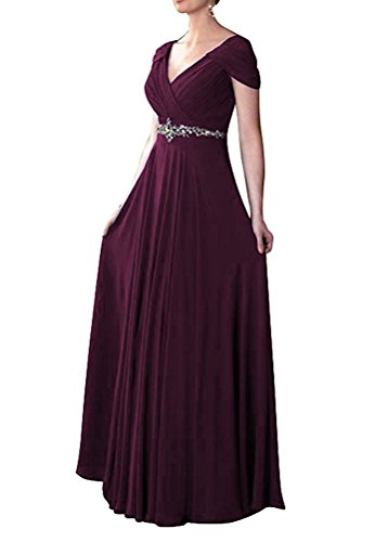 Empire Ball Gown - CaliaDress Women V Neck Empire Long Prom Dress Evening Gowns C260LF Plum US6
